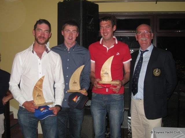 188 Innocence from Foynes Yacht Club, finishing 2nd overall at the 2015 National Championship. Pictured here from left to right is Mark Mc Cormack, Cathal Mc Mahon, Darragh Mc Cormack and Foynes Yacht Club Commodore James Mc Cormack (who is also a very proud father in this instance!)